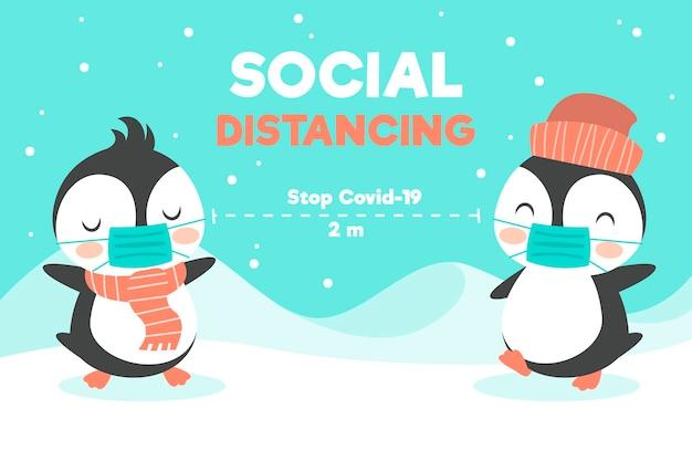 Concept De Distance Sociale Avec Des Animaux Mignons Vecteur gratuit