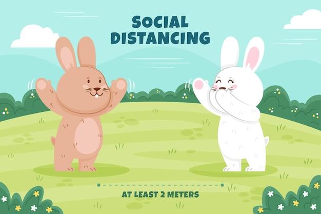 Concept De Distance Sociale Avec Des Animaux Mignons Vecteur Premium