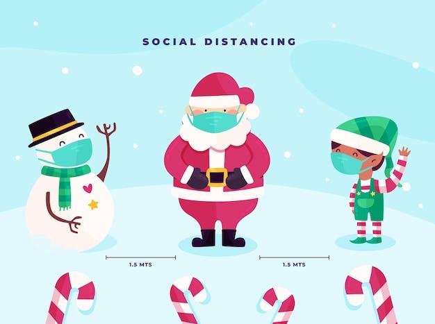 Concept De Distance Sociale Avec Des Personnages De Noël Vecteur Premium