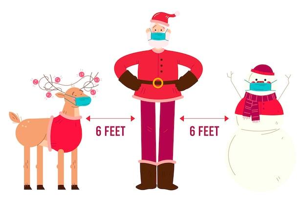 Concept De Distance Sociale Avec Des Personnages De Noël Vecteur gratuit
