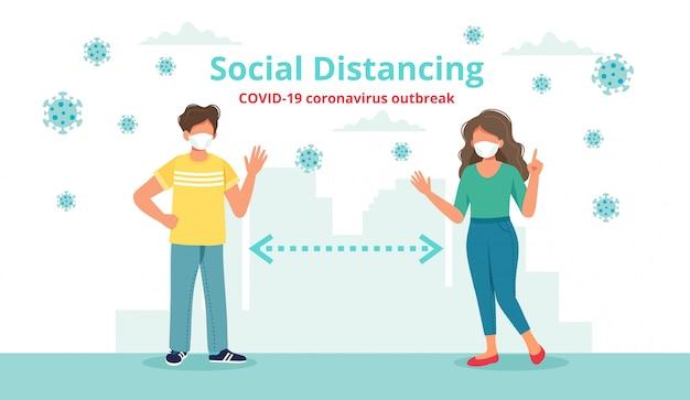 Concept De Distanciation Sociale Avec Deux Personnes à Distance Se Saluant. Vecteur Premium