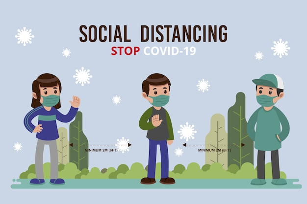 Concept De Distanciation Sociale Illustré Vecteur gratuit