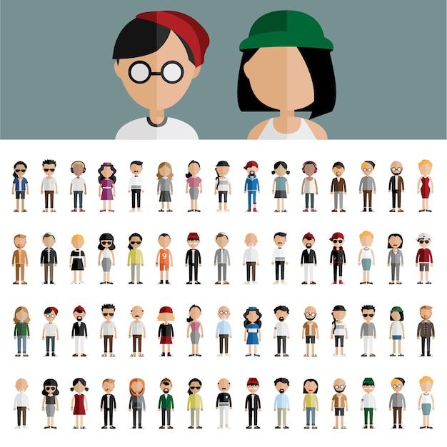 Concept De Diversité Communautaire Personnes Design Plat Icônes Vecteur gratuit