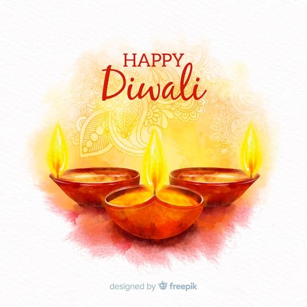 Concept diwali avec fond aquarelle Vecteur gratuit