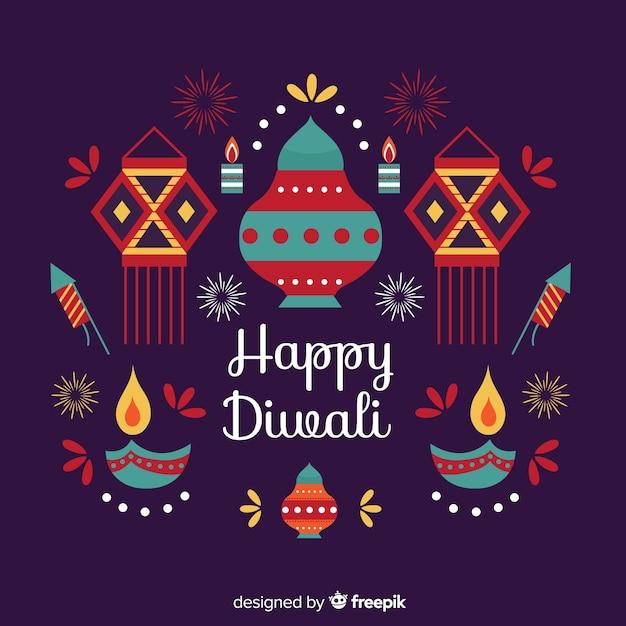 Concept de diwali avec fond design plat Vecteur gratuit