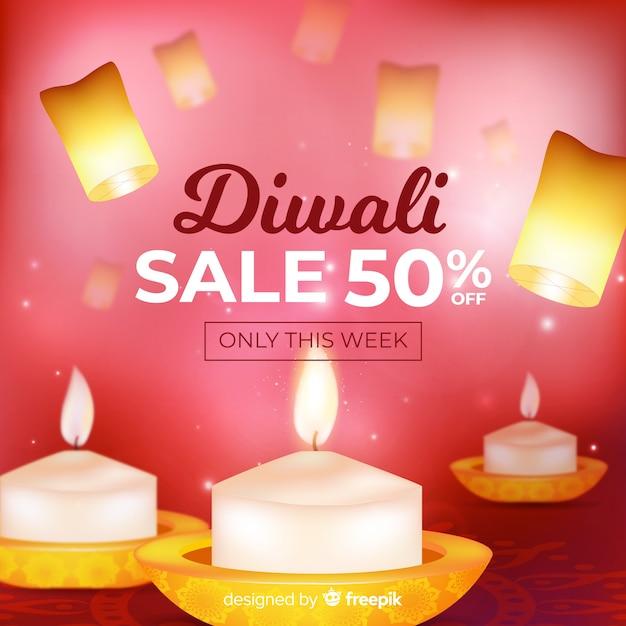 Concept diwali avec fond réaliste Vecteur gratuit