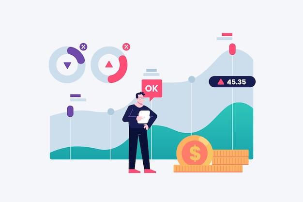 Concept De Données Boursières Vecteur gratuit