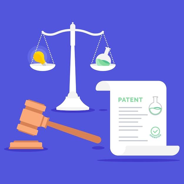 Concept De Droit Des Brevets Avec Balance Vecteur gratuit