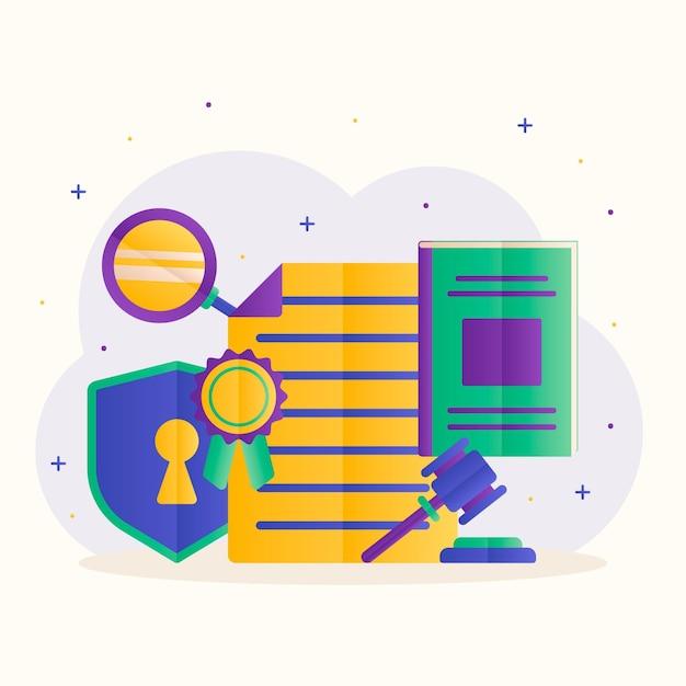 Concept De Droit Des Brevets Avec Documents Vecteur gratuit