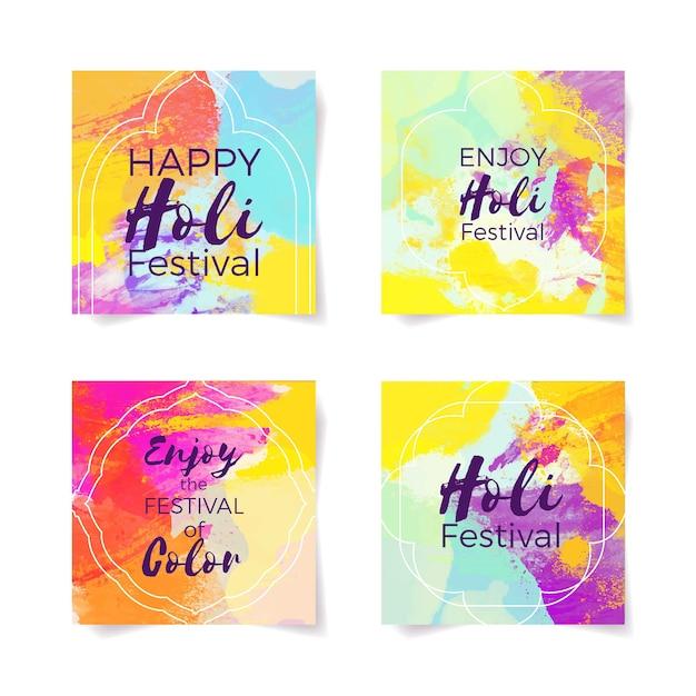 Concept Du Festival Holi Pour Les Messages Instagram Vecteur gratuit