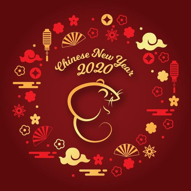 Concept du nouvel an chinois au design plat Vecteur gratuit