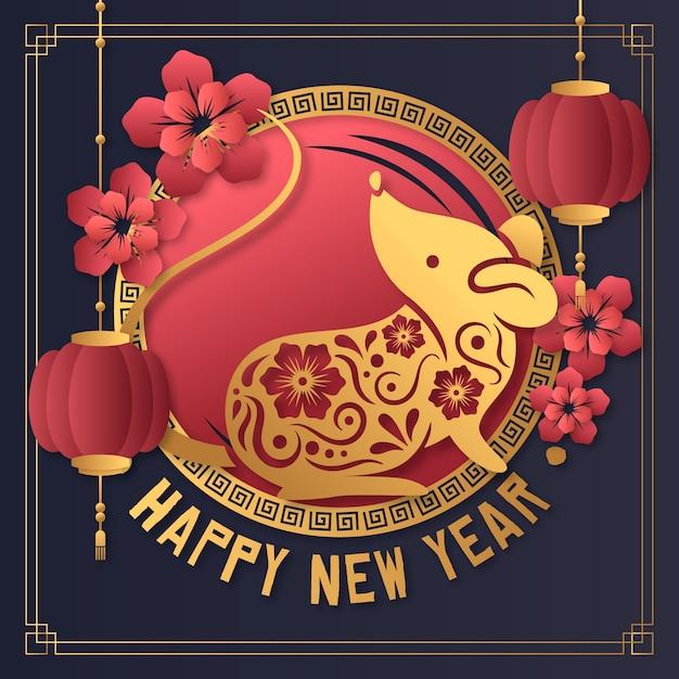 Concept du nouvel an chinois dans le style du papier Vecteur gratuit