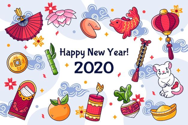 Concept du nouvel an chinois dessiné à la main Vecteur gratuit