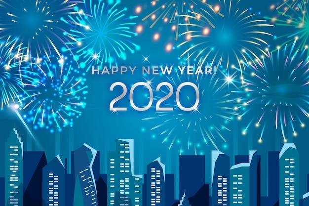 Concept Du Nouvel An Avec Feux D'artifice Vecteur gratuit