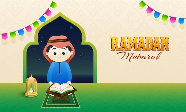Concept Du Ramadan Moubarak Avec Un Jeune Enfant Islamique Lisant Une île Sainte Vecteur Premium