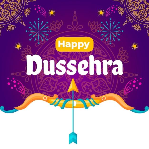 Concept De Dussehra Au Design Plat Vecteur gratuit