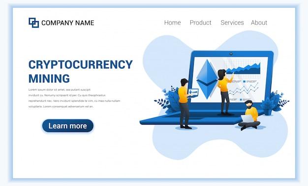 Concept D'échange De Devises Cryptographiques Avec Des Personnes Travaillant Sur Un Ordinateur Portable Géant Pour L'échange De Bitcoin Et De Devises Numériques. Vecteur Premium
