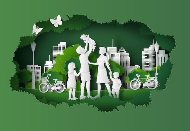 Concept d'éco et d'environnement avec une famille heureuse Vecteur Premium