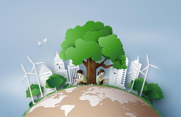 Concept éco et environnement Vecteur Premium
