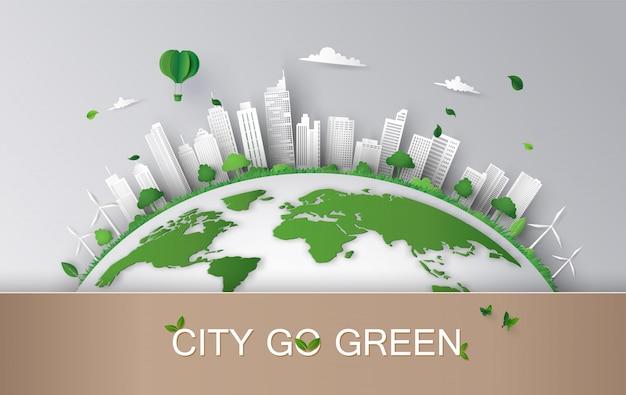 Concept d'éco avec style de bâtiment et de nature.paper art. Vecteur Premium