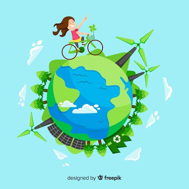 Concept d'écologie dessiné avec des éléments naturels Vecteur gratuit
