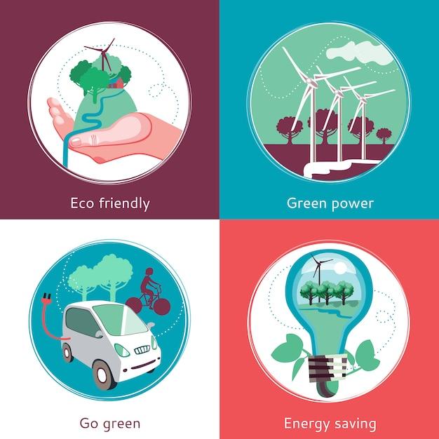 Concept d'écologie ensemble d'horizons plats Vecteur gratuit