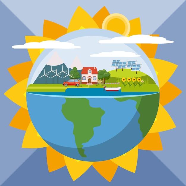Concept d'écologie globale de tournesol, style cartoon Vecteur Premium
