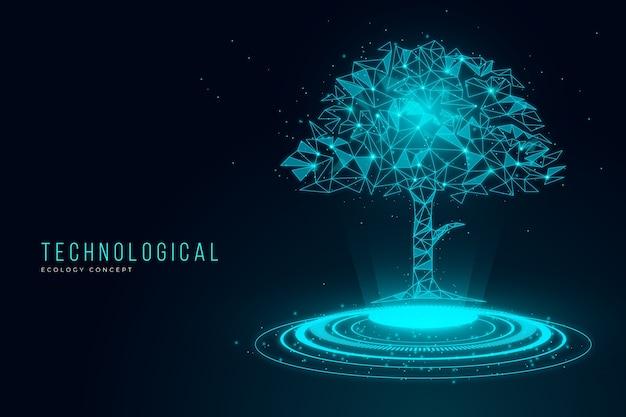 Concept D'écologie Technologique Avec Arbre Vecteur gratuit