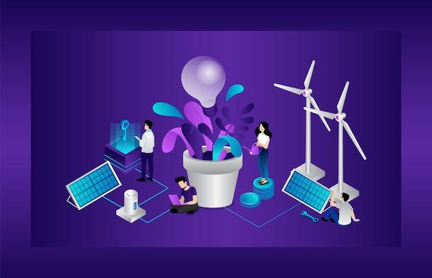 Concept écologique. Les Hommes Et Les Femmes Utilisent Des Sources D'énergie Alternatives. Technologies économes En énergie Et Respectueuses De L'environnement. Grande Ampoule, Panneaux Solaires, éoliennes. Dessin Animé Vecteur Premium