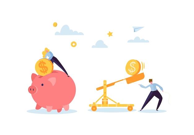 Concept D'économie D'argent. Personnages D'affaires Collectant Des Pièces D'or Dans La Tirelire Rose. Richesse, Budget Et Revenus. Vecteur Premium