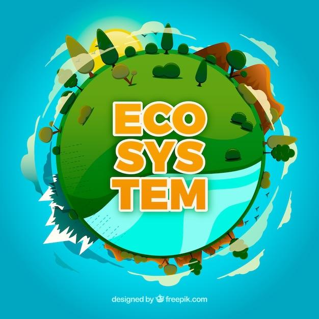 Concept d'écosystème avec globe rond Vecteur gratuit