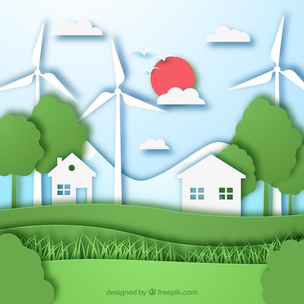 Concept d'écosystème avec maisons et moulins à vent Vecteur gratuit
