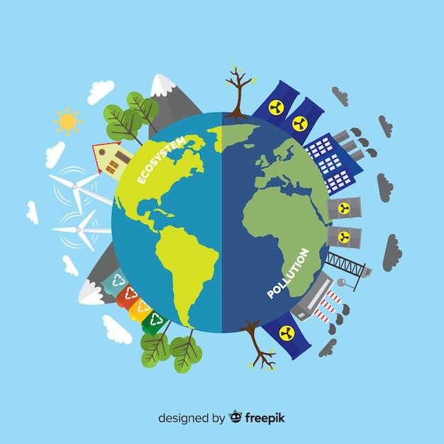 Concept d'écosystème plat et de la pollution Vecteur gratuit