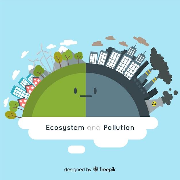 Concept d'écosystème et de pollution Vecteur gratuit