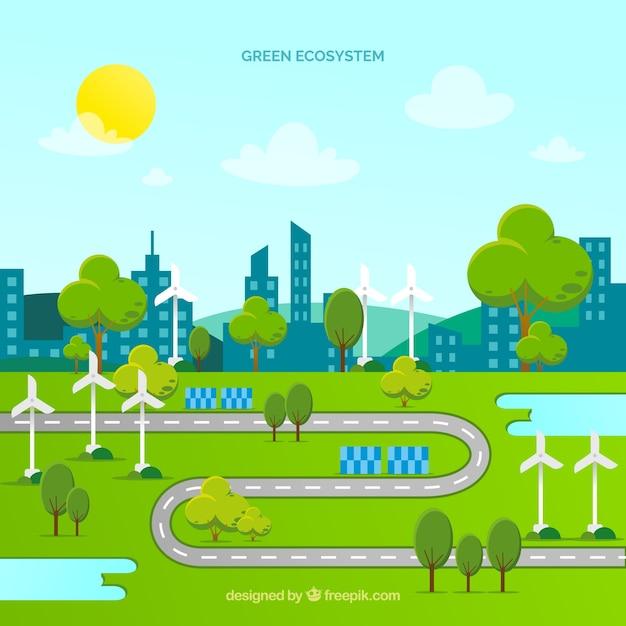 Concept d'écosystème avec route et ville Vecteur gratuit