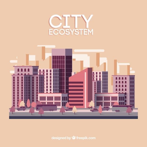 Concept d'écosystème de la ville Vecteur gratuit