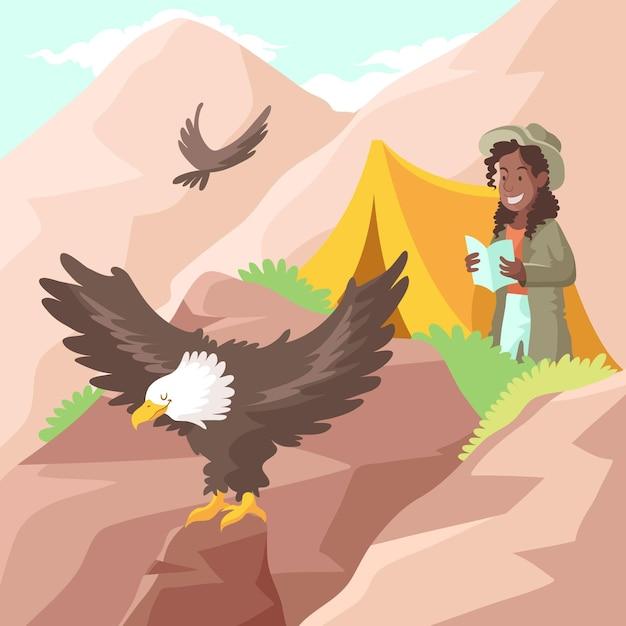 Concept D'écotourisme Avec Montagne Vecteur gratuit