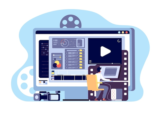 Concept D'éditeur Vidéo Vecteur Premium