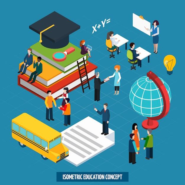 Concept D'éducation En Caractères Isométriques Vecteur gratuit