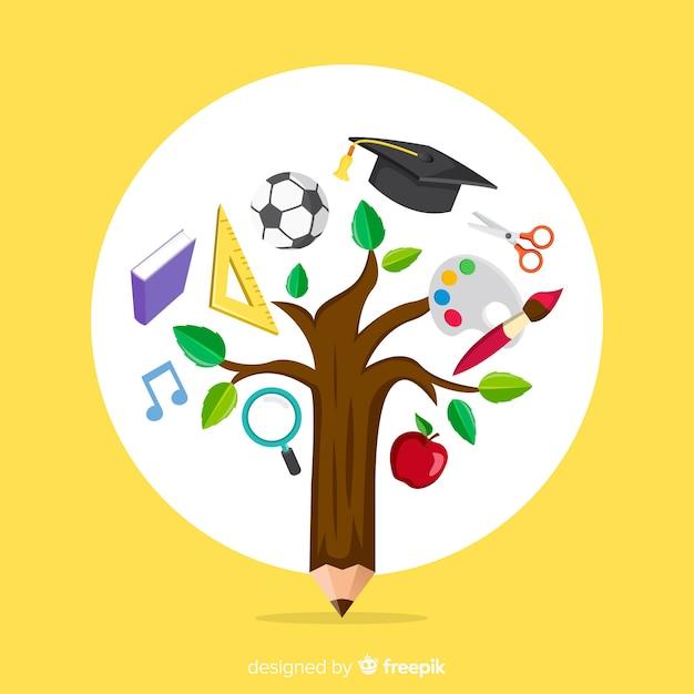 Concept d'éducation coloré avec un design plat Vecteur gratuit