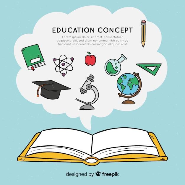 Concept d'éducation dessiné main belle Vecteur gratuit
