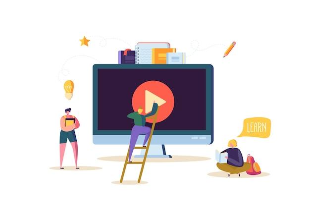 Concept D'éducation En Ligne. E-learning Avec Des Personnes Plates Regardant Un Cours Vidéo En Streaming Sur Ordinateur. Graduation University College étudiants Caractères. Vecteur Premium