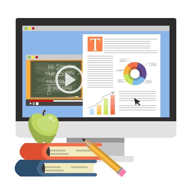 Concept D'éducation En Ligne. Formation Numérique Et Distance Vecteur Premium