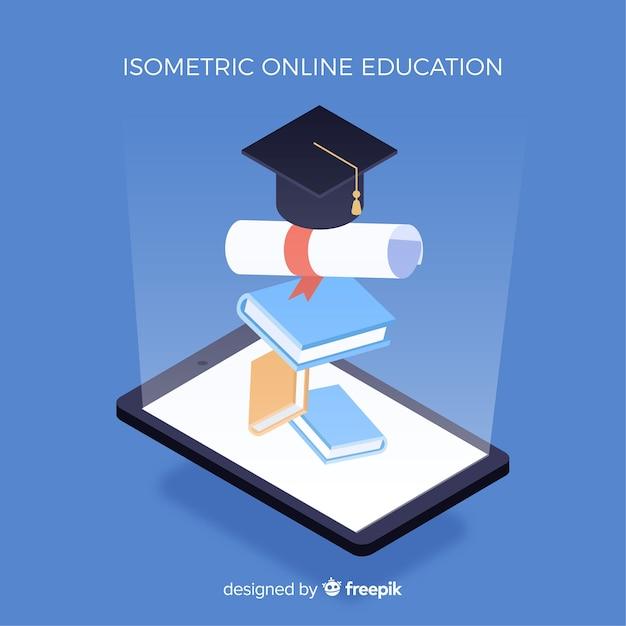 Concept D'éducation En Ligne Isométrique Vecteur Premium