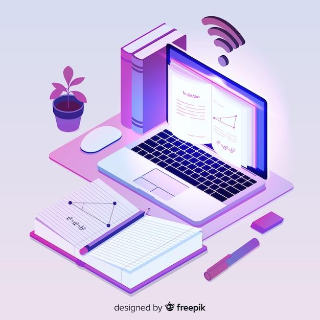 Concept d'éducation en ligne isométrique Vecteur gratuit
