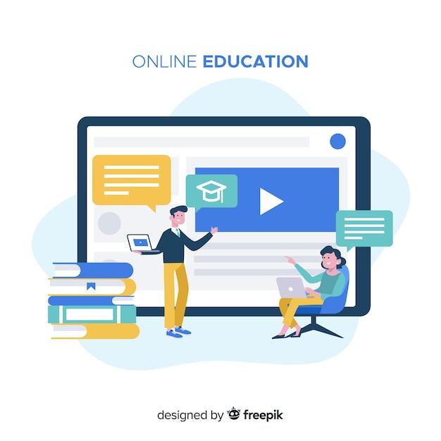 Concept D'éducation En Ligne Vecteur Premium
