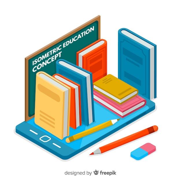 Concept d'éducation moderne avec vue isométrique Vecteur gratuit