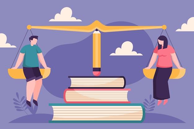 Concept D'égalité Des Sexes Avec La Balance Vecteur gratuit