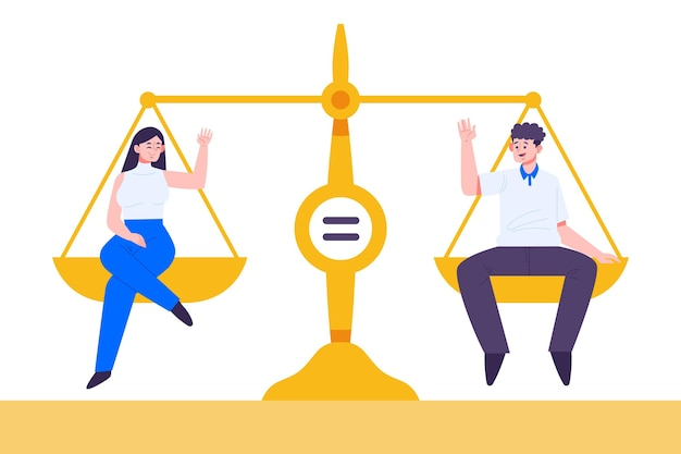 Concept D'égalité Des Sexes Avec échelle Vecteur gratuit