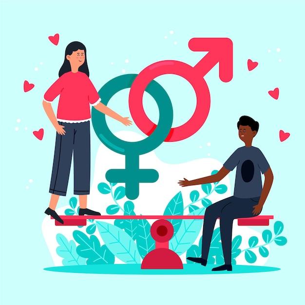 Concept D'égalité Des Sexes Vecteur gratuit